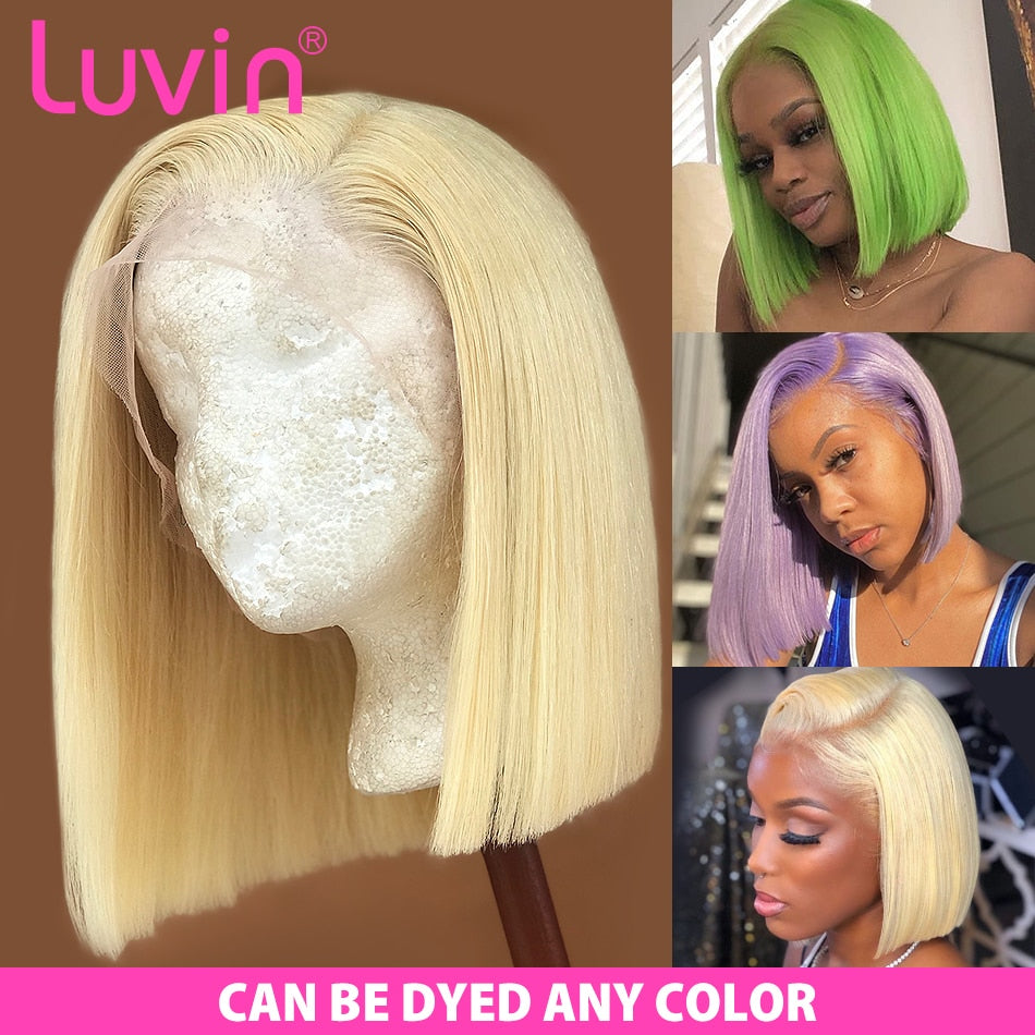 Luvin Closure Wig 613 Blonde 13X4 HD Transparent Lace Front Human Hair Wigs Straight Brazilian Short Bob Frontal Wig Black Woman