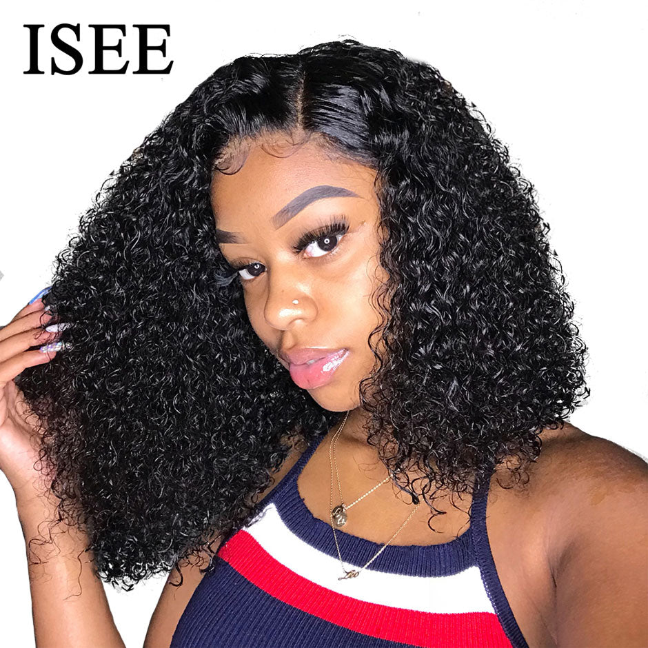 ISEE HAIR Curly Lace Front Wigs For Women Kinky Curly Lace Frontal Wig 4X4 Lace Closure Bob Wig Brazilian Curly Human Hair Wigs