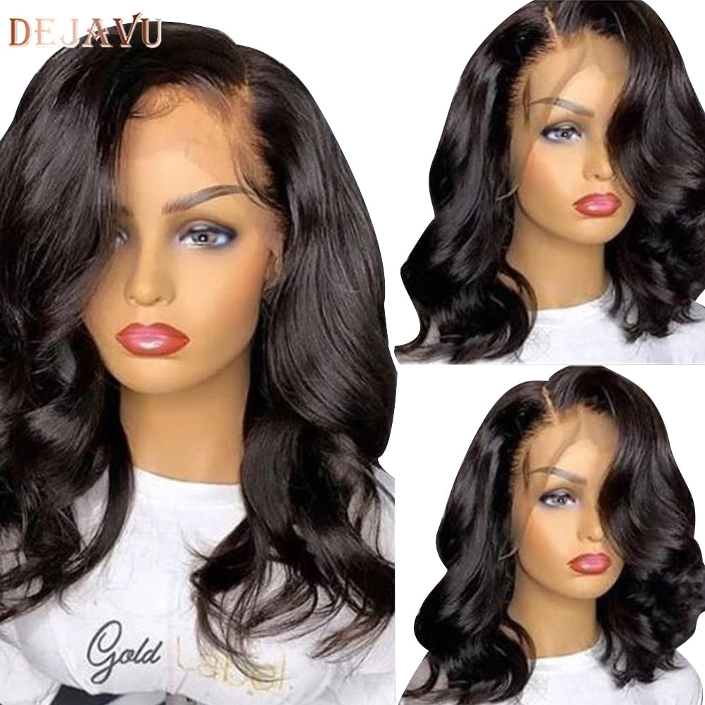 Dejavu Body Wave Lace Front Human Hair Wigs Remy Peruvian Hair Body Wave Wig 150% Density 13X4 Lace Front Wigs For Black Women