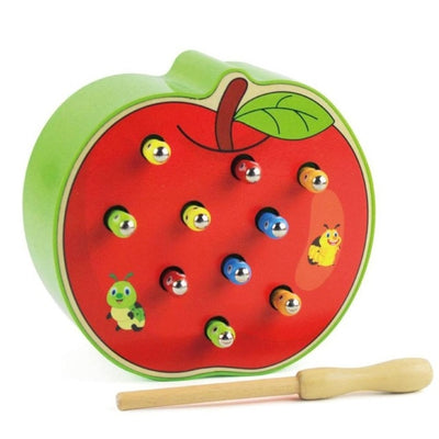 New Fruit Shape Kids Wooden Toys Catch Worms Games with Magnetic Stick Montessori Educational Creature Blocks Interactive Toys