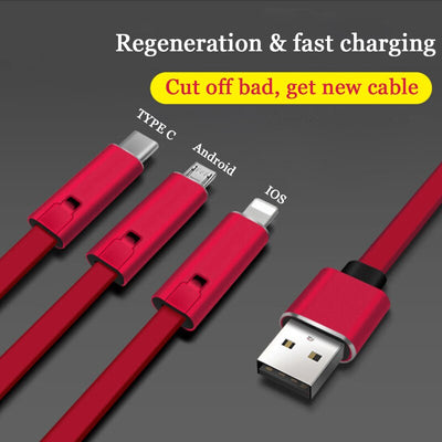 4A Fast Charger Cable Repairable USB Data Sync Charging Cord 1.5m Repair Recycling Renewable Charging Adapter Cord for IOS TypeC