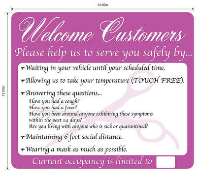 Salon kit: Hospitality Pager,Salon Rules Sign, 5 pack of Social Distance Floor Decals - Mask It Now
