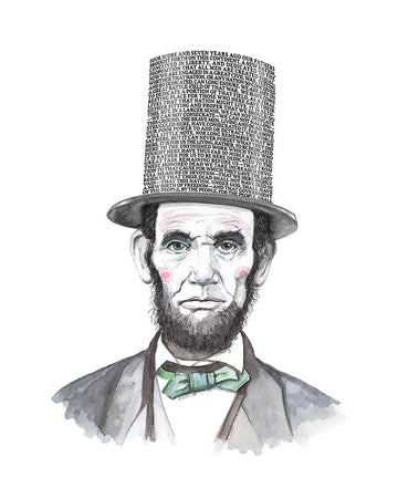 Portrait of Abraham Lincoln with his Gettysburg Address speech as his top hat