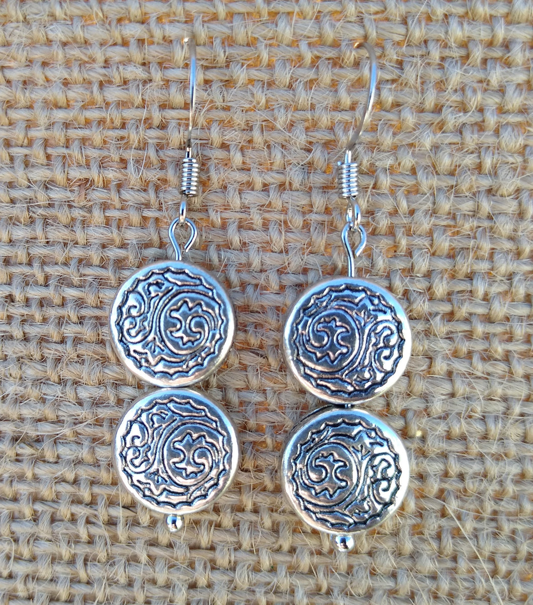 Silver Plated Metal Flat Bead Earrings