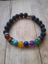 Load image into Gallery viewer, Chakra and Black Lava Stone Stretch Bracelet