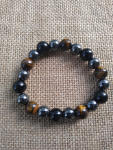 Load image into Gallery viewer, Triple Protection Bracelet/ Hematite/Obsidian/Tiger's Eye