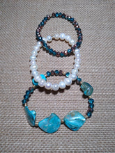 Load image into Gallery viewer, Blue and Freshwater Shells 3pc Stack Stretch Bracelet