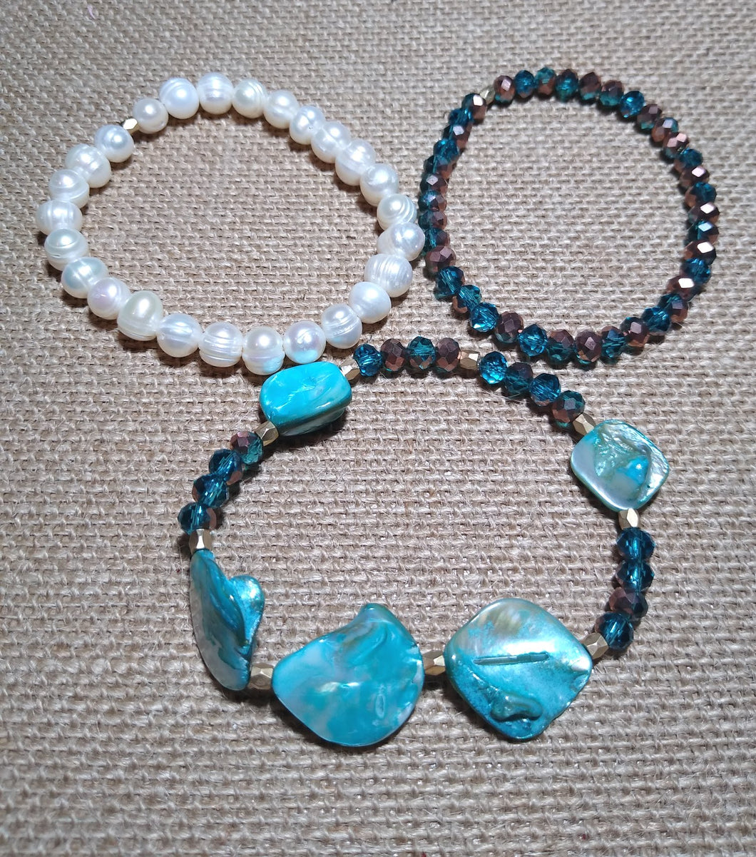 Blue and Freshwater Shells 3pc Stack Stretch Bracelet