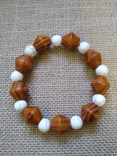 Load image into Gallery viewer, Dark Brown Wood Bicone & White Howlite Stretch Bracelet