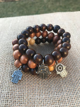 Load image into Gallery viewer, Chunky TriColored Wood Beads with Hamsa Palm Charms