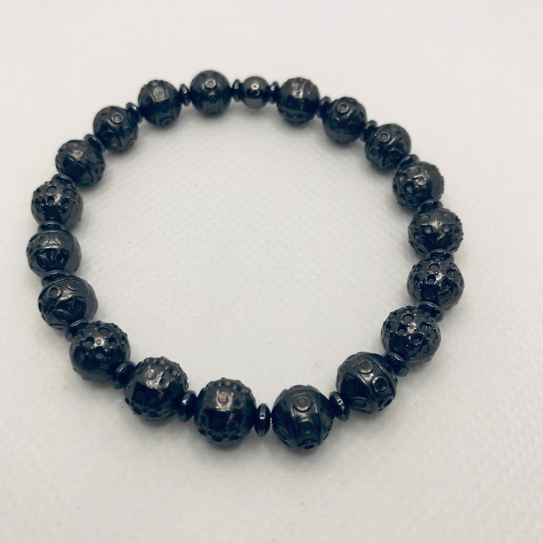 Gunmetal Hematite Textured Stretch Bracelet