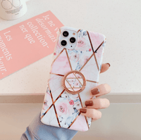 Sleek Marble iPhone Case with Finger Ring Holder