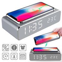 Wireless Charger & LED Alarm Clock Duo