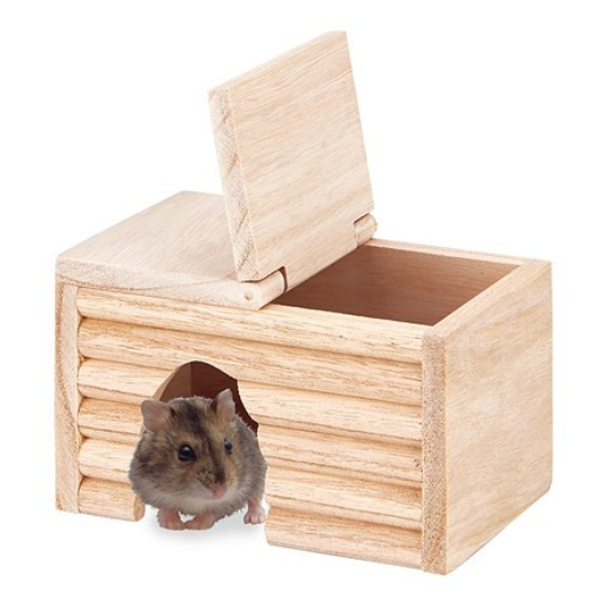 Marukan Natural Wood house For Dwarf Hamster