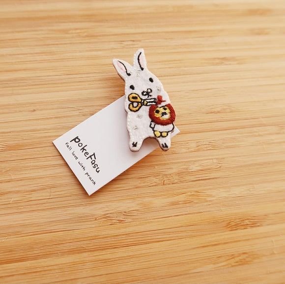 The Burrow Animal Embroidered Pin - Rabbit and Lion