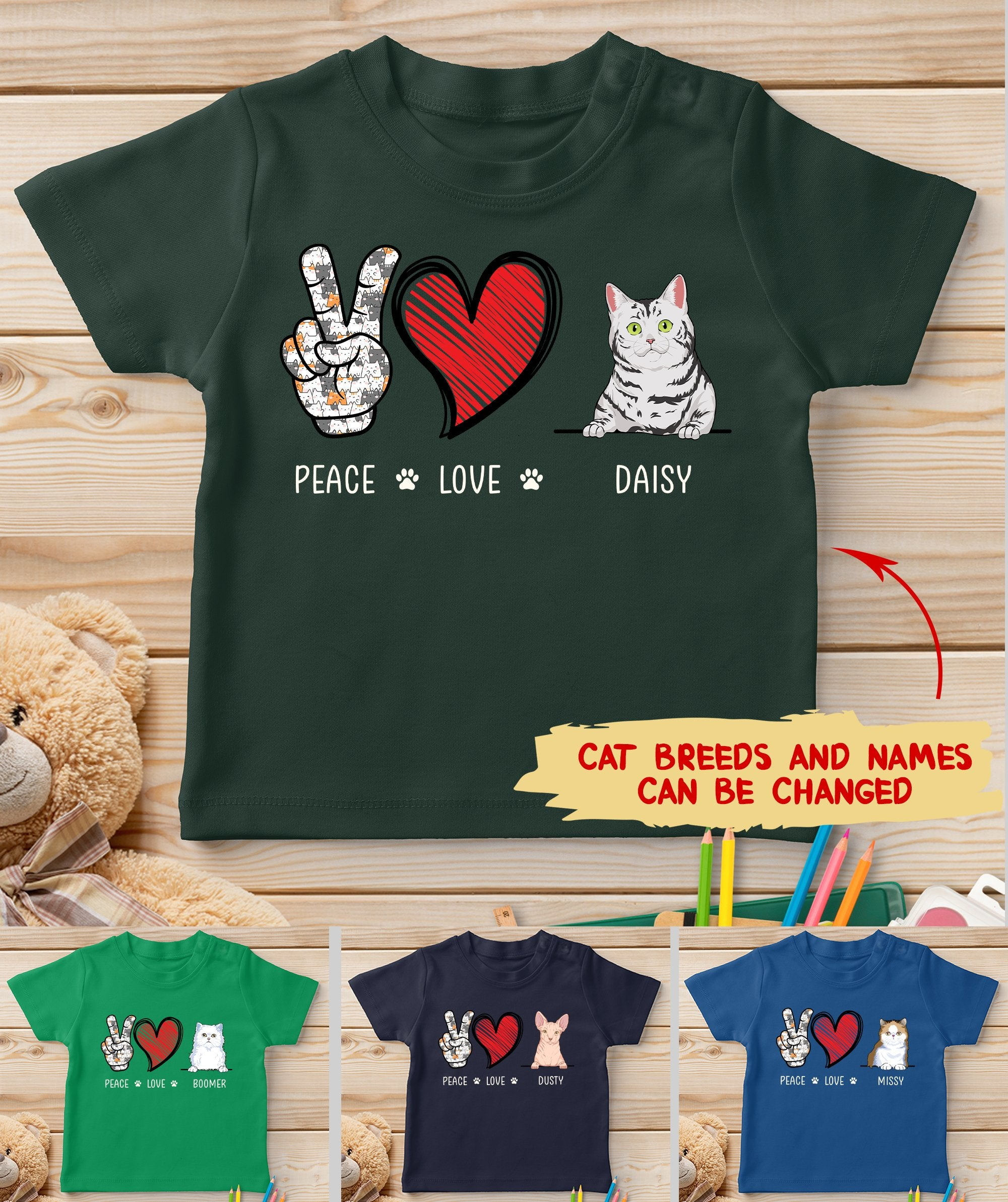 Peace Love Cat - Personalized Custom Youth T-shirt
