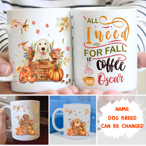 Fall, Coffee And Dog - Personalized Custom Coffee Mug