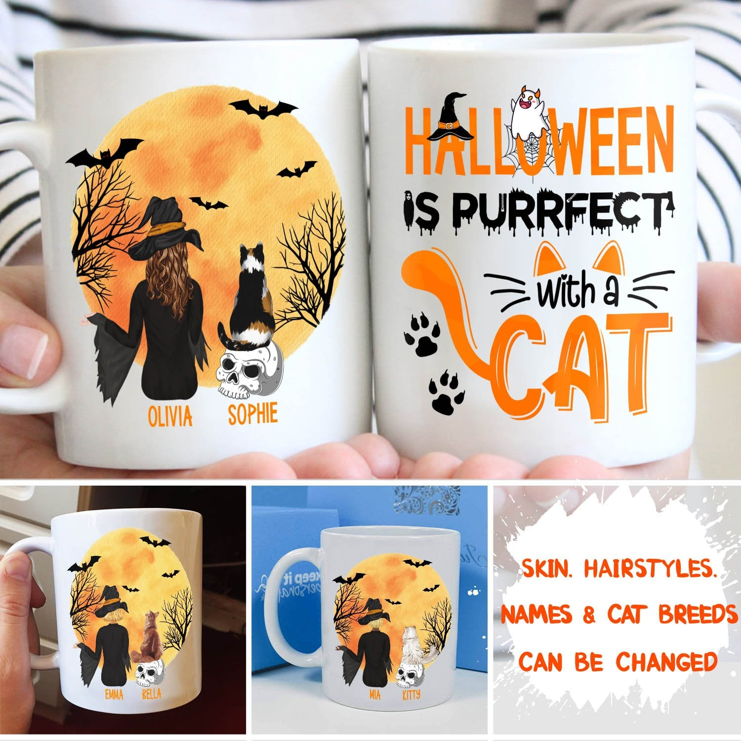 Halloween Is Purrfect - Personalized Custom Mug