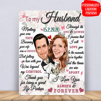 HUSBAND WIFE - THANK YOU FOR BEING A GREAT LIFE PARTNER - PERSONALIZED CUSTOM CANVAS