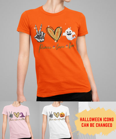 Peace Love Halloween - Personalized Custom Women's T-shirt