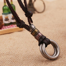 Load image into Gallery viewer, Men's Vintage Street Style Double Ring Genuine Leather Necklace
