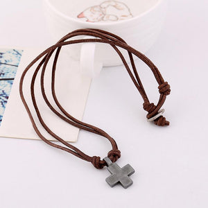 Men's Vintage Street Style Cross Genuine Leather Necklace