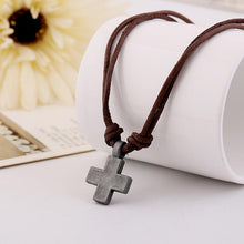 Load image into Gallery viewer, Men's Vintage Street Style Cross Genuine Leather Necklace