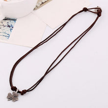 Load image into Gallery viewer, Men's Vintage Street Style Clover Genuine Leather Necklace
