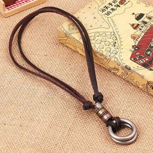 Men's Vintage Street Style Double Ring Genuine Leather Necklace