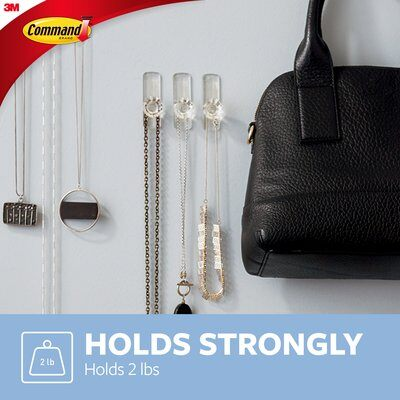 3M Command Clear Medium Crystal Hook 2 Hooks/3 Strips/900 gm