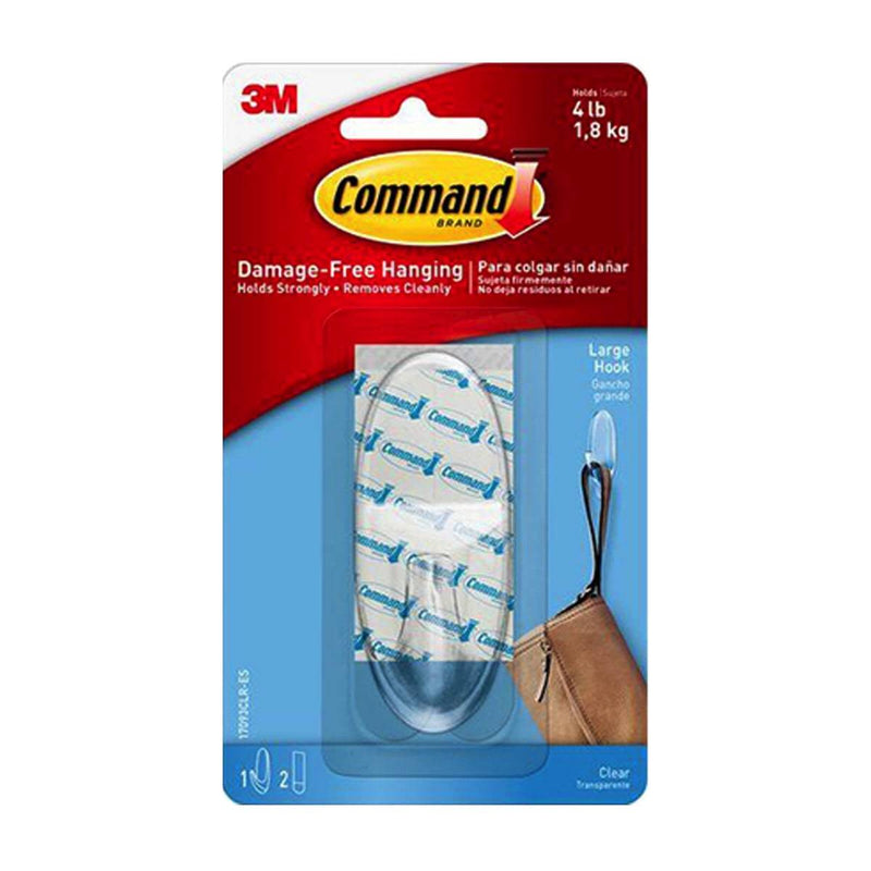3M Command Medium Clear Hooks With Clear Strips