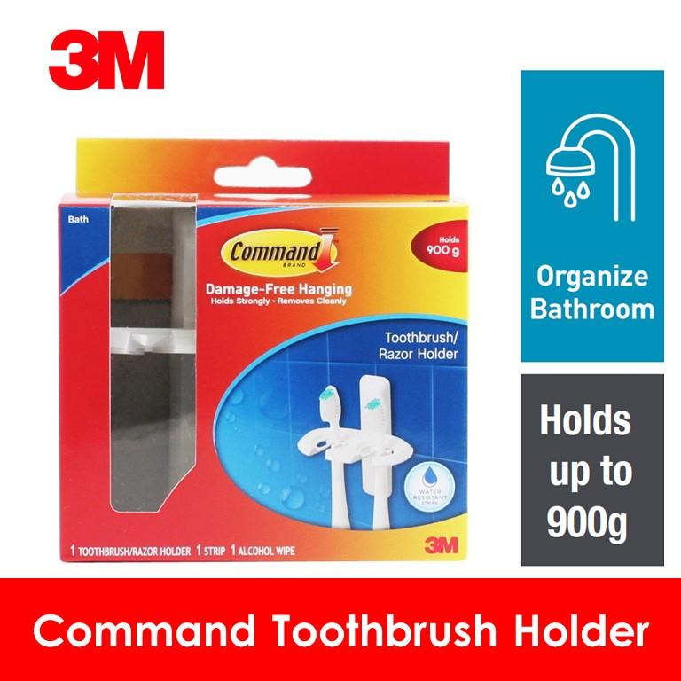 3M Command Toothbrush Holder Bath Accessory 1 Strip/1 Alcohol Wipe/900 gm