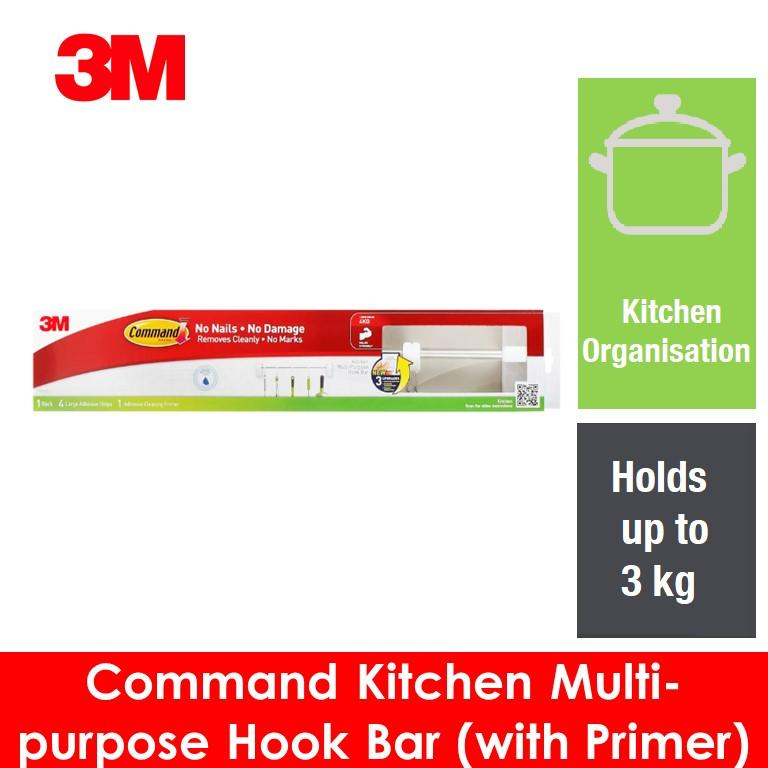 3M Command Kitchen Multi-Purpose Hook Bar (With Primer)