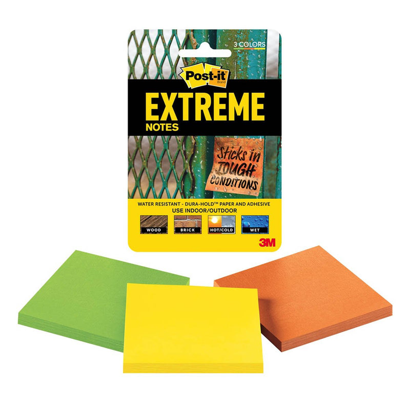 3M Post-it  Extreme Note 3 Inch X 3 Inch 3 Pads
