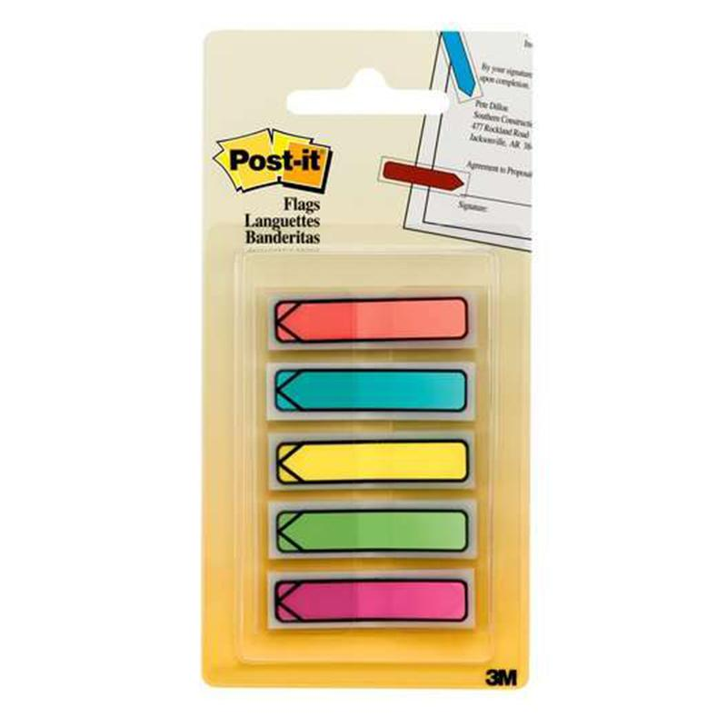 "3M Post-it Arrow Flags Bright Col 0.47"" X 1.7"" 5 Col X 20 Sheets"