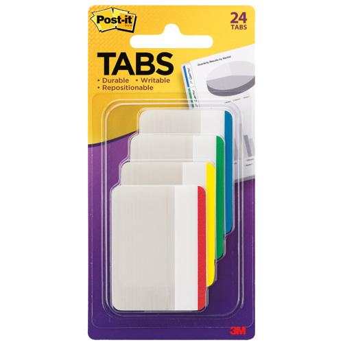 "3M Post-it Flat Durable Tabs 2"" X 1.5"" 24 Tabs/Pk"