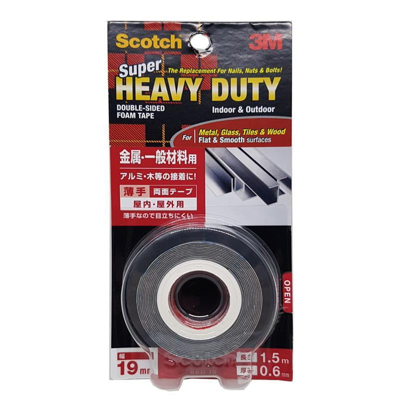 3M Scotch Super Heavy Duty Tape For Metal, Glass, Tiles & Woods, Flat & Smooth Surfaces 19 mm X 1.5 Meter