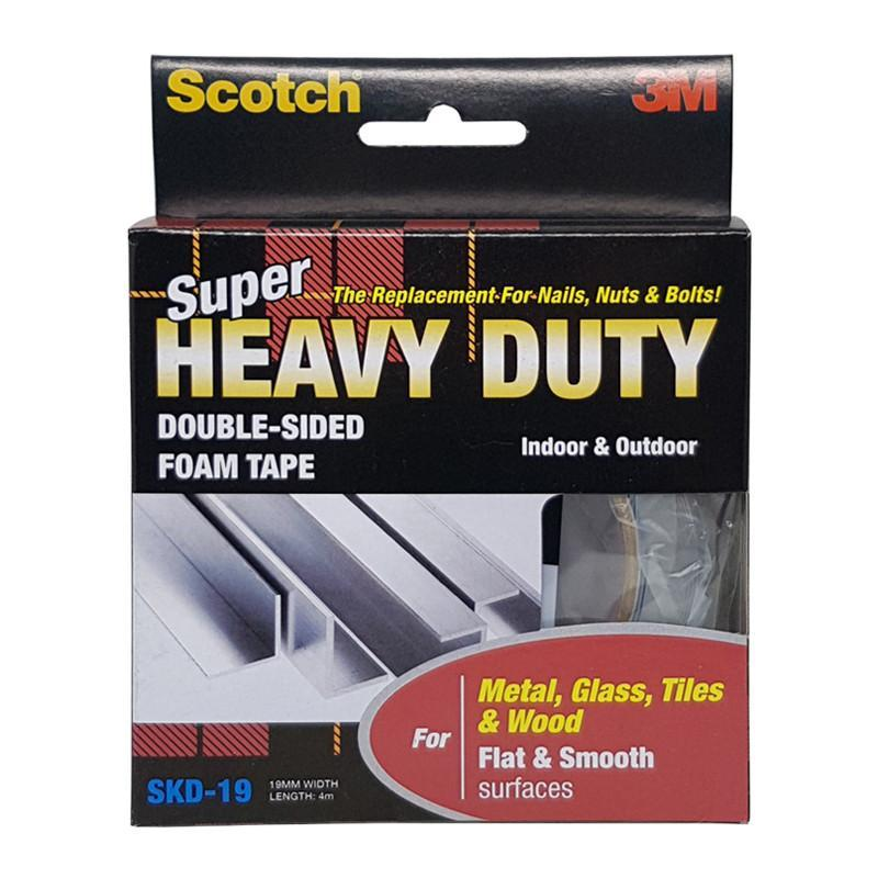3M Scotch Super Heavy Duty Tape For Metal, Glass, Tiles & Woods, Flat & Smooth Surfaces 19 mm X 4 Meter