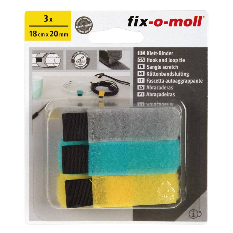 Fix-O-Moll Hook + Loop Cable Tie - Dark Grey, Turquiose & Yellow 180 mm X 20 mm