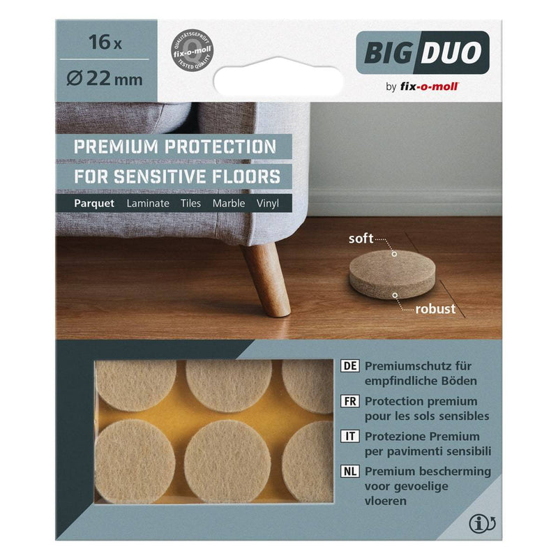Fix-O-Moll Big Duo Parquet Gliders Self Adhesive Dia 22 mm