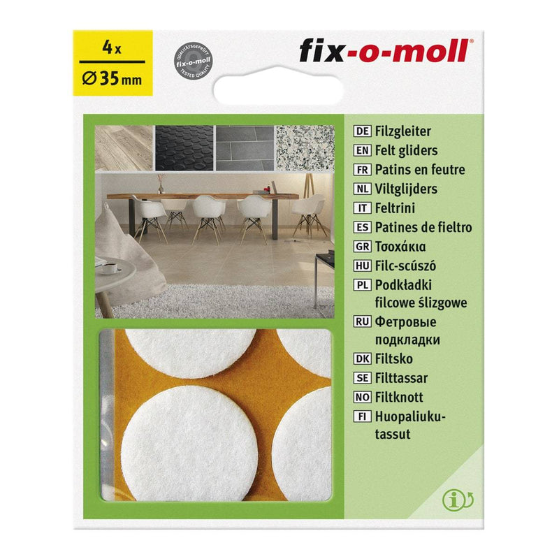 Fix-O-Moll Felt Gliders Self Adhesive White Dia 35 mm