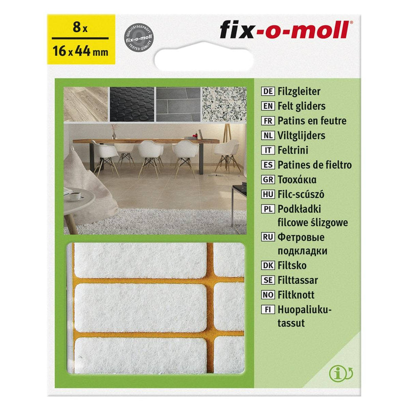 Fix-O-Moll Felt Gliders Self Adhesive Rect White 16 X 44 mm