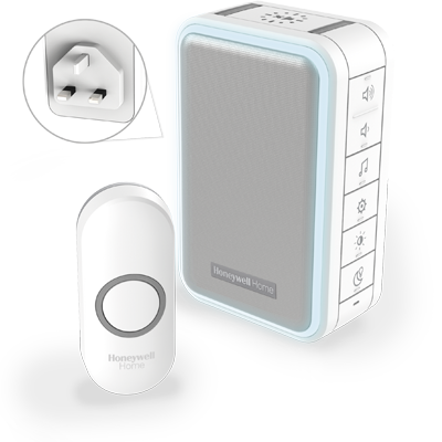 Honeywell Wireless Plug-In Doorbell With Halo Light, USB Charging And Push Button-White