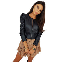 Load image into Gallery viewer, Long Sleeve Black Faux Leather Jacket For Women