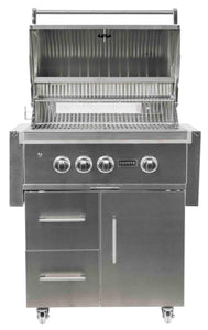 Coyote S Series 30-inch Grill, 2 Burner, and Rapid Sear™ Burner, with Cart, Propane (LP)
