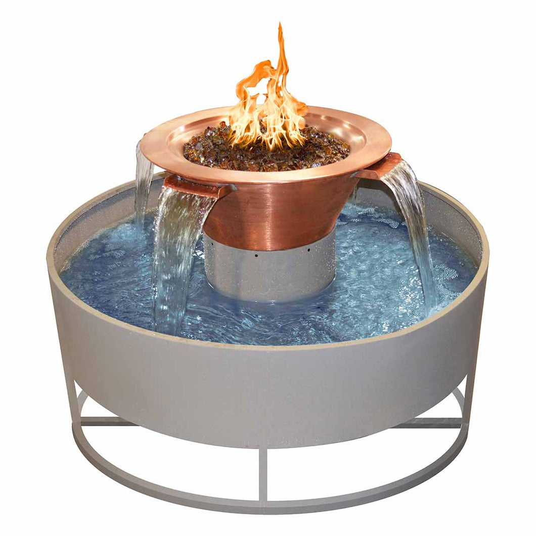 Olympian Round 4-Way Copper Fire & Water Bowl 60-inch Electronic Ignition - Natural Gas