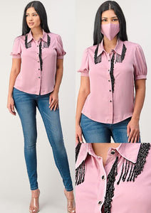 Pink Blouse With Black Details