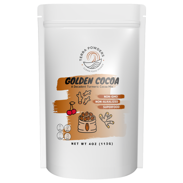 Golden Cocoa Turmeric Chocolate Powder Drink Mix with Freeze-Dried Cherry Powder