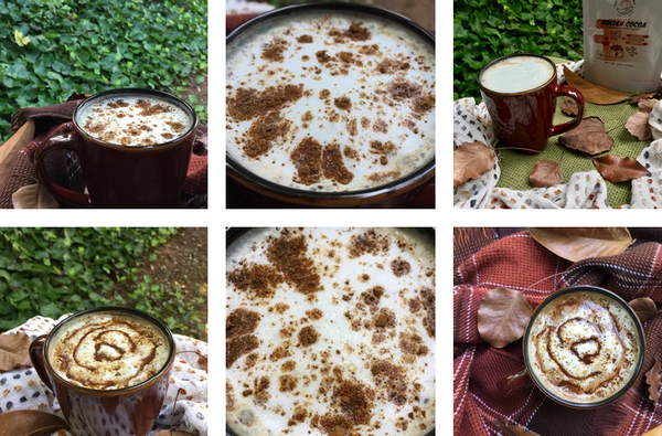 Six Photo Collage Of PSL Coffee Drink Recipe By Terra Powders Golden Cocoa Pumpkin Spice Lattes Outdoors In Fall Season