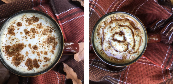 Two Photo Collage With Golden Cocoa Topped Pumpkin Spice Latte With Chocolaty Swirl